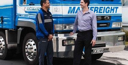 Dr Marcus with Mainfreight Driver Dennis Morar